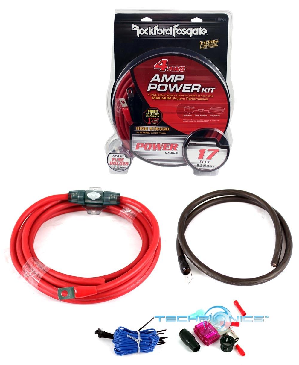 rockford fosgate rfk4 4 awg car amplifier power installation wiring kit
